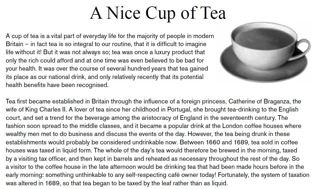 Testo in inglese sulla tradizione del tea