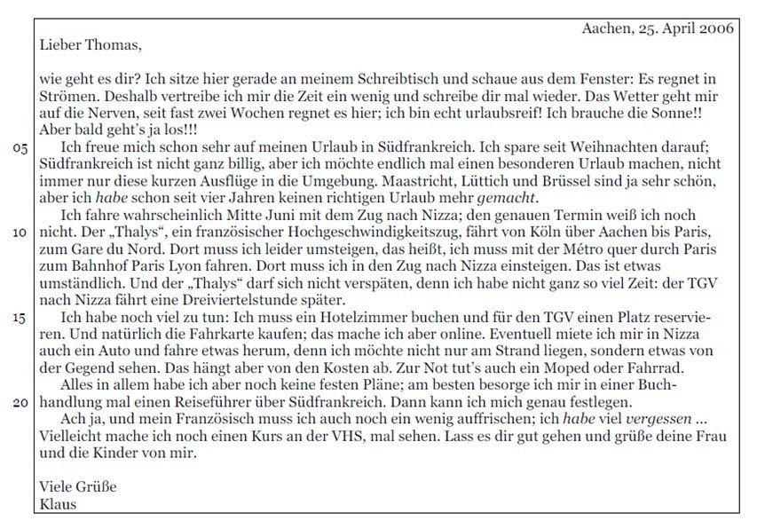 Lettera in tedesco